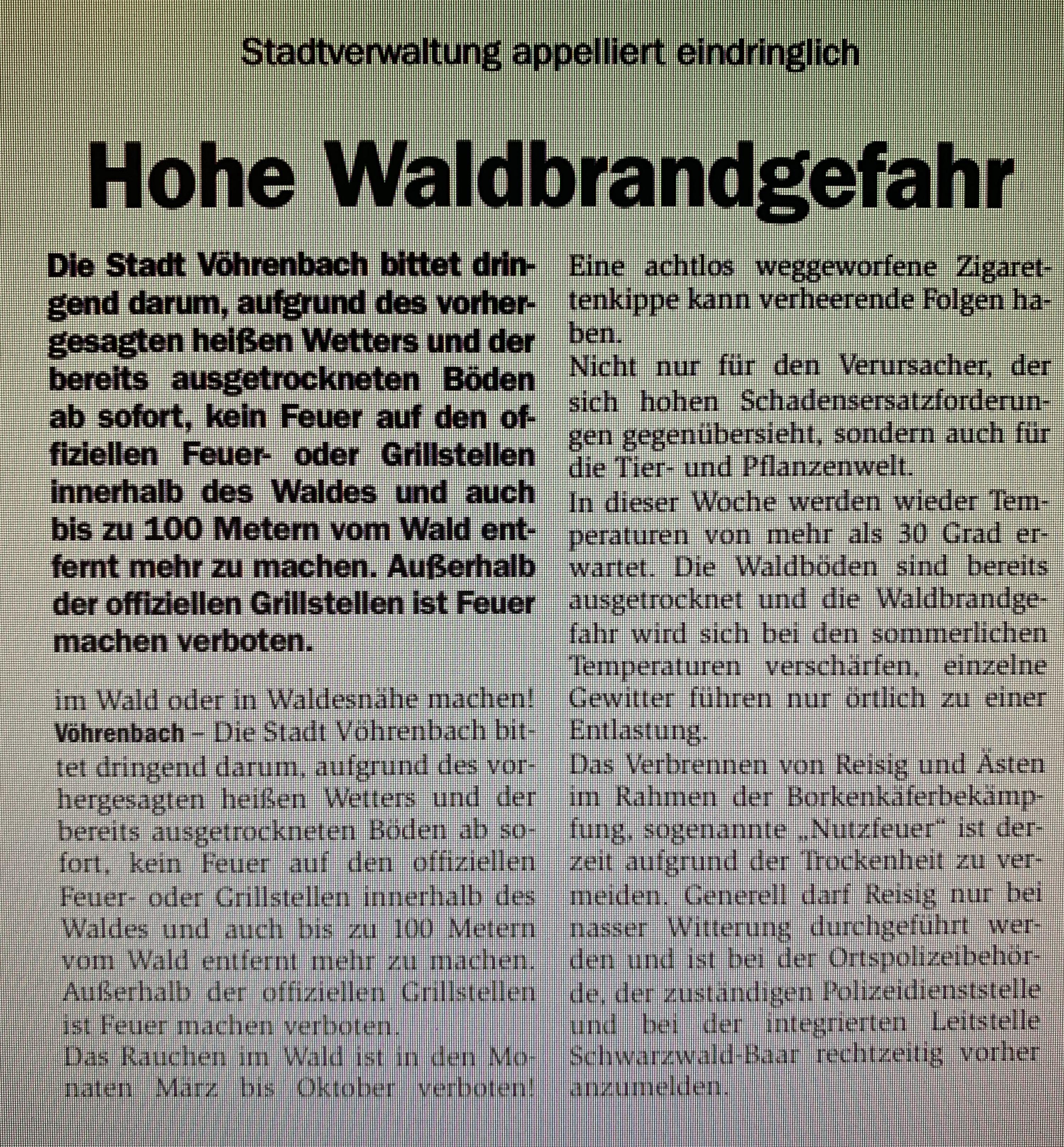 WALDBRANDGEFAHR Die Stadtverwaltung Vöhrenbach informiert